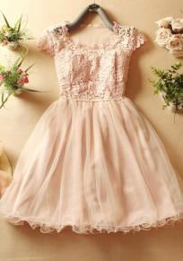Mini-robe grenade col rond pur coton doux rose