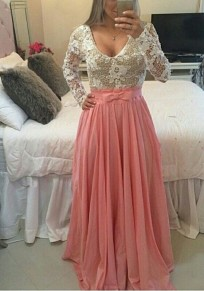 Pink Patchwork Lace Embroidery Backless V-neck Sexy Maxi Dress