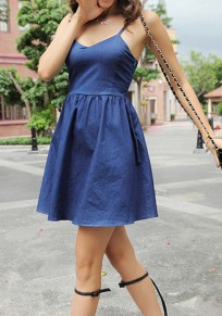 Blue Plain Condole Belt Zipper Cross Back Mini Dress