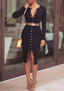 Black Plain Rivet Belt Slit Long Sleeve Bodycon Homecoming Midi Dress