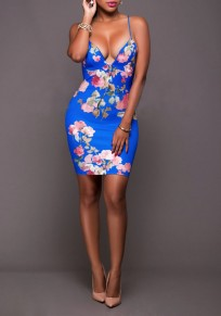 Blue Floral Print Spaghetti Straps Backless Bodycon Homecoming Mini Dress
