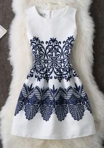 White Floral Pattern Round Neck Fashion Polyester Mini Dress