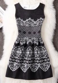 Black Floral Pattern Round Neck Fashion Polyester Mini Dress