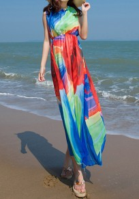 Multicolor Color Block Irregular Draped Round Neck Sleeveless Maxi Dress