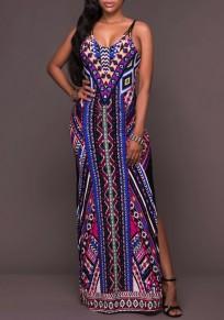 Blue Floral Tribal Geometric Print Cross Back Spaghetti Straps Side Slit Maxi Dress