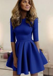 Mini-robe évasée plissé col ronde manches au coude élégant bleu