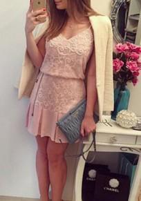 Mini robe fleuri condole boucle manches volantées broderie rose