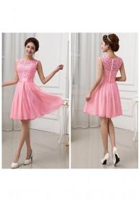 Rose Karmin Flickwerk Hohle-heraus Spitze Drapierte Rundhals Mini Kleid