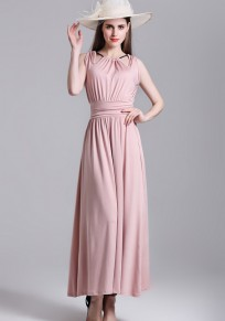 Nude Plain Pleated Zipper Tie Back Halter Neck Elegant Maxi Dress