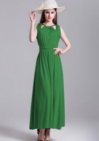 Robe maxi uni fermeture éclair plissé dos nœud cou élégant vert