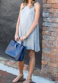 Grey Plain Hollow-out Draped Open back Sleeveless Mini Dress