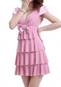 Mini-robe uni à plusieurs niveaux nœud papillon v-cou sexy rose