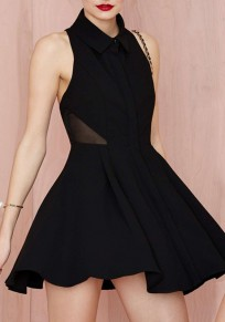 Black Patchwork Grenadine Pleated Cross Back Backless Mini Dress