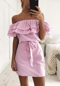 Pink Striped Sashes Boat Neck Fashion Cotton Mini Dress