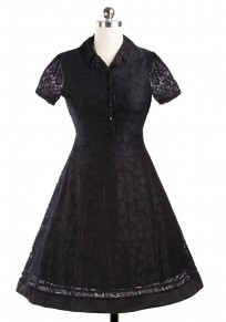 Black Patchwork Hollow-out Lace Buttons V-neck Short Sleeve Mini Dress