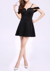 Black Plain Draped Collarless Fashion Polyester Mini Dress
