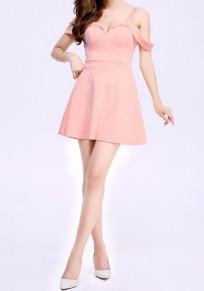 Mini vestido llano drapeado sin cuello moda poliéster champán