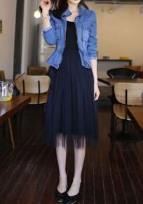 Black Patchwork Grenadine Double-deck Tulle Tutu Sleeveless Elegant Midi Dress