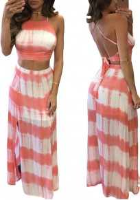 Pink Striped 2-in-1 Collarless Bohemian Polyester Maxi Dress