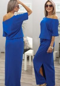 Blue Plain Pockets Side Slit Round Neck Maxi Dress