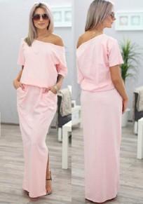 Pink Plain Pockets Side Slit Round Neck Maxi Dress