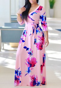 Pink Flowers Print Sashes Draped A-line 3/4 Sleeve Homecoming Maxi Dress