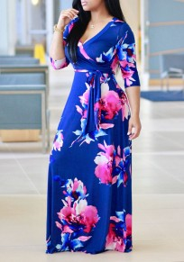 Navy Blue Flowers Print Sashes Draped 3/4 Sleeve Homecoming Maxi Dress