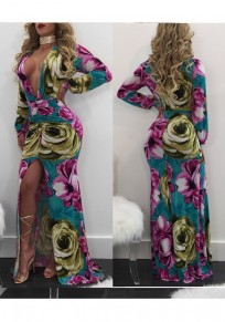 Pink Flowers Print Slit Lantern Sleeve Prom Evening Party Maxi Dress