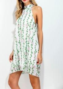 Light Green Floral Double-deck Loose Mini Dress