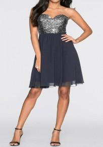 Mini vestido lentejuelas de cintas de lentejuelas de tutú gris