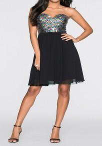 Mini robe paillette bandeau à coloré au large de l'épaule tulle tutu tulle noir