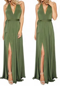 Grün Gürtel Neckholder Rückenfreies V-Ausschnitt Ärmellos Maxikleid Abendkleid Ballkleid