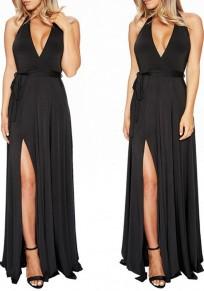 Black Plain Belt Side Slit Draped Halter Neck Deep V-neck Maxi Dress