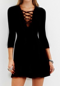 Black Plain Hollow-out Draped Lace-Up 3/4 Sleeve Mini Dress