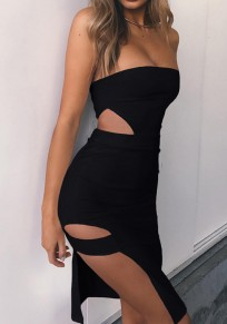 Black Plain Bandeau Cut Out Side Slit Mini Dress