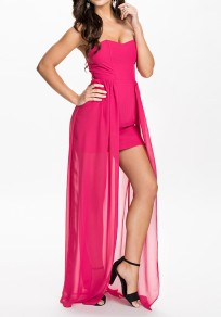Red Patchwork Bandeau Double-deck Backless Maxi Dress