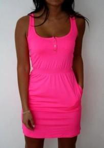 Rose Carmine Plain Pockets Buttons Round Neck Fashion Mini Dress