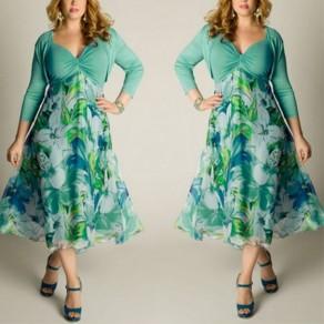 Green Flowers Print Draped A-line Pleated V-neck Plus Size Bohemian Maxi Dress