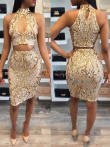 Golden Floral Sequin Bodycon Prom Evening Party Square Neck Sleeveless Midi Dress