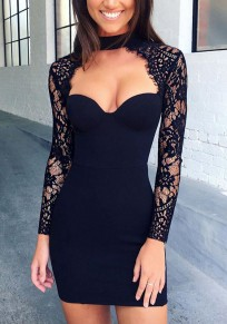 Black Patchwork Lace Collarless Sexy Polyester Mini Dress