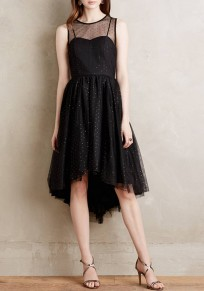 Black Plain Grenadine Round Neck Fashion Polyester Midi Dress