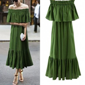 Green Plain Peplum Draped Boat Neck Off Shoulder Vintage Midi Dress