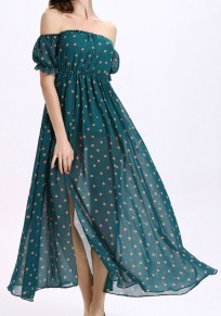 Green Polka Dot Bandeau Off Shoulder Side Slit Chiffon Maxi Dress