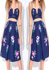 Blue Flowers Print 2-in-1 Spaghetti Strap Off-Shoulder Midi Dress