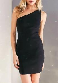 Schwarzes normales asymmetrisches Schulter Kragenloses reizvolles Polyester Minikleid