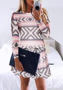 Mini robe plissé géométrique col rond polyester de mode rose