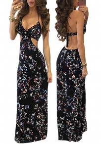 Black Floral Print Tie Back Cut Out Halter Neck Backless Maxi Dress