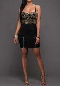 Black Patchwork Rivet Zipper Spaghetti Strap V-neck Backless Bodycon Mini Dress