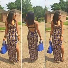 Khaki Geometric Print Cut Out Spaghetti Straps Backless Side Slit Maxi Dress