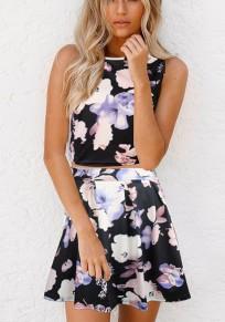Black Floral Crop Pleated 2-in-1 Zipper Fashion Mini Dress